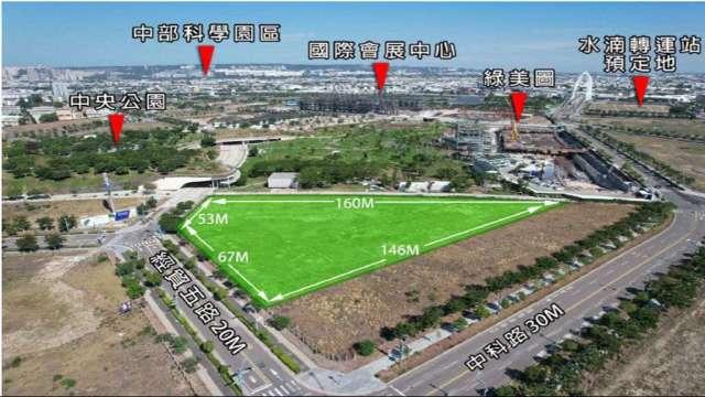 CBRE受託標售水湳經貿園區近3000坪建地,每坪底價約380萬元。(圖:CBRE提供)