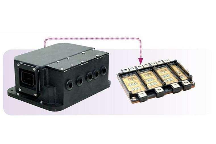 以半導體晶片的封裝技術,將更多晶片一體化整合在模組裡(右),可驅動的馬達功率超過 8kW 以上,整個馬達驅控器再透過整合式設計縮小體積,可縮小三分之一(左)。