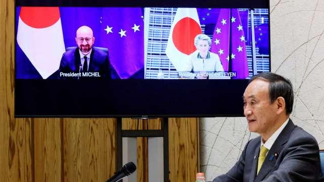 歐日峰會聲明首度提及台海穩定 日媒解讀為6月G7峰會暖身 (圖:AFP)