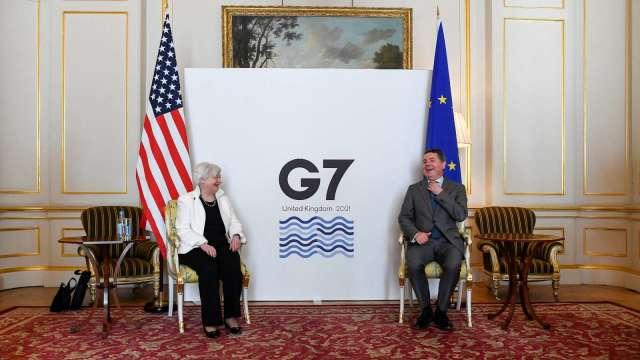 G7達成歷史性協議 敲定全球最低企業稅15%。(圖:AFP)