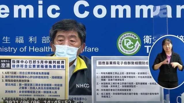 中央流行疫情指揮中心指揮官陳時中。(圖:擷取自CDC)