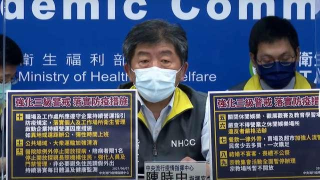 全國三級警戒延至6/28 賣場、百貨強化人流管制。(圖:取自疾管署直播)