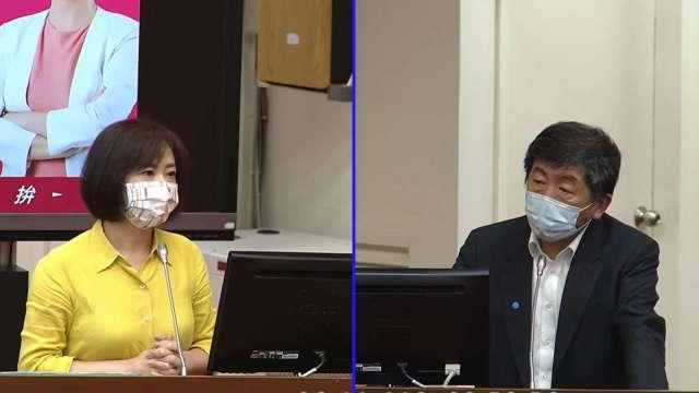 立委何欣純(左)、衛福部長陳時中(右)。(圖:立法院隨選視訊)