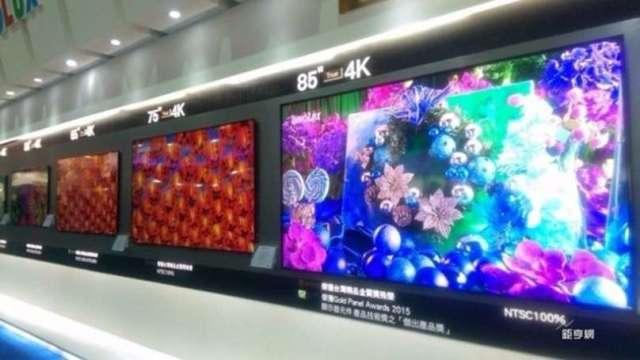 中國面板產值全球第一 市佔40%(圖片:AFP)