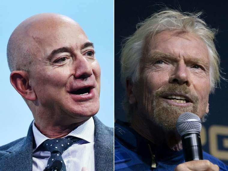 英國億萬富豪布蘭森 (Richard Branson) 本月搶先貝佐斯飛天。(圖片:AFP)