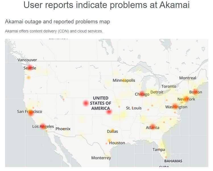 全美各地客戶通報 Akamai 營運的 Edge DNS 服務出現問題(圖片:Downdetector)