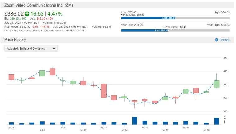 ZM 股價走勢圖 圖片:anue 鉅亨