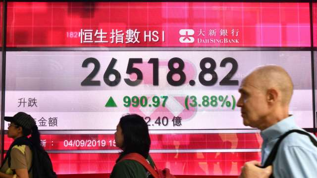 交易稅上調首日 恒指走勢平穩上揚(圖片:AFP)
