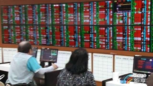 〈台股盤中〉電子股來電 指數強漲200點收復四大關。(鉅亨網資料照)