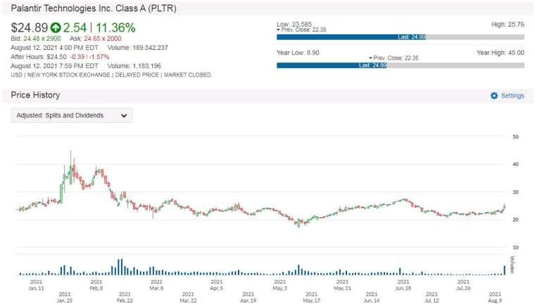 PLTR 股價走勢圖 圖片:anue 鉅亨
