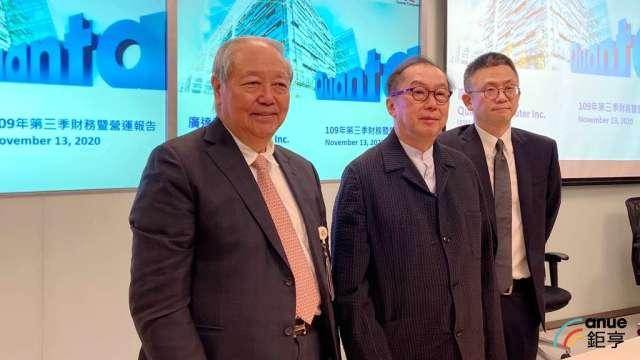 廣達董事長林百里(中)、副董事長梁次震(左)、財務長楊俊烈(右)。(鉅亨網資料照)