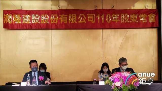 潤隆今召開股東會,董事長蔡聰賓(右)指出潤隆今年營收突破100億元。(鉅亨網記者張欽發攝)