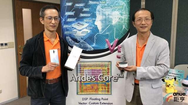 右至左為晶心科董事長林志明、總經理蘇泓萌。(鉅亨網資料照)