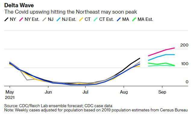 美國東北部州疫情與 CDC 預估值 (圖: Bloomberg、CDC)