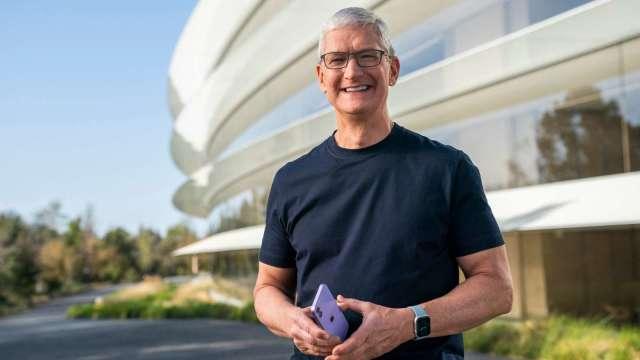 庫克擔任蘋果CEO滿十年。 (圖:AFP)