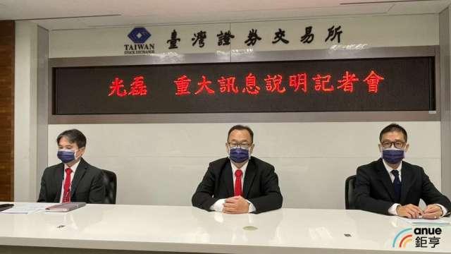 光磊總經理黃年宏(中)、發言人戴菁甫(左)。(鉅亨網記者林薏茹攝)