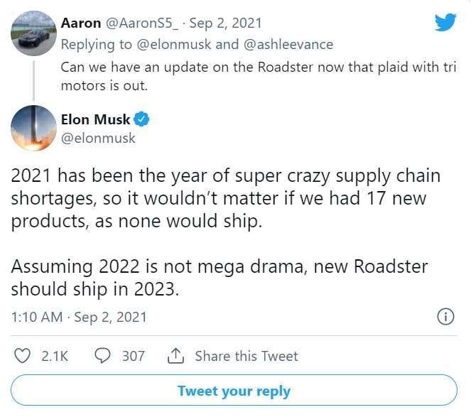 馬斯克推文解釋為何特斯拉超跑延後交車 (圖片:馬斯克推特)
