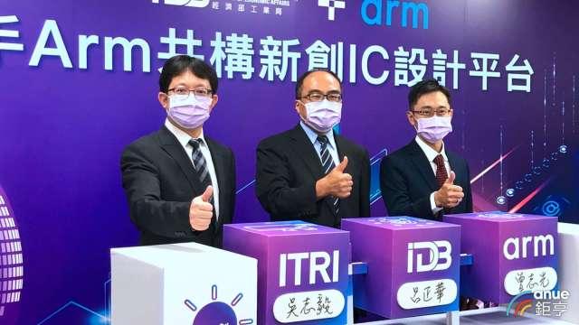 工研院攜手Arm今日共構新創平台,右1為Arm台灣總裁曾志光。
