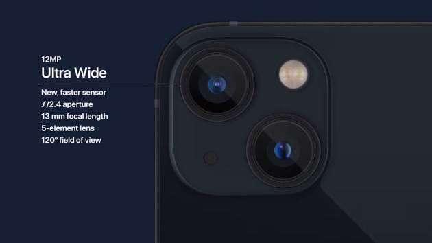 iPhone 13 和 iPhone 13 mini 的雙鏡頭則改為斜對角排列 (圖片:蘋果)