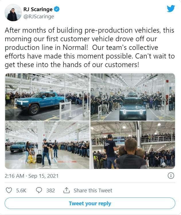 Rivian 執行長推文慶祝 R1T 出廠。圖: 取自推特