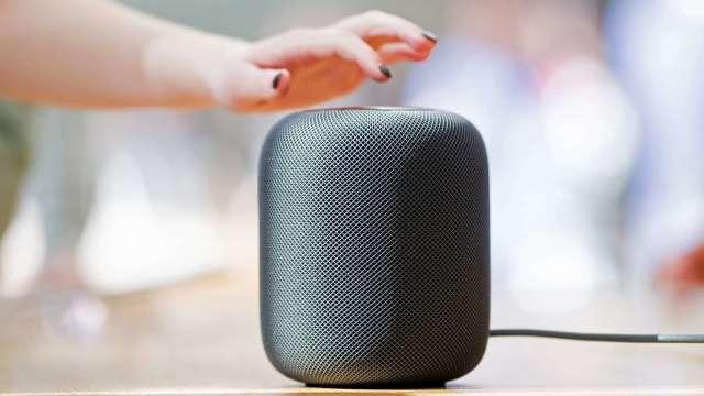蘋果HomePod智慧音箱。(圖:AFP)