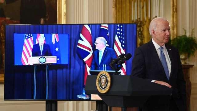 美英澳成立安全聯盟AUKUS 尋求遏制中國勢力(圖:AFP)