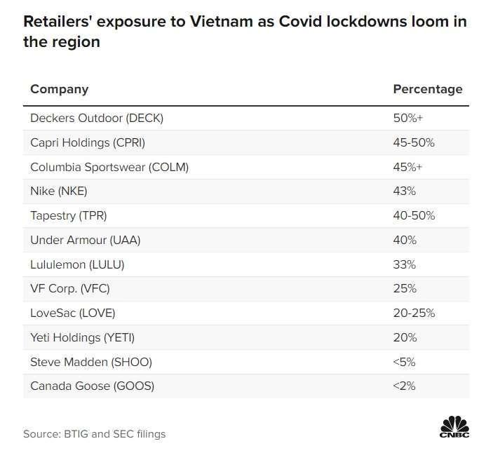 大型零售商的越南業務比重。表取自 CNBC