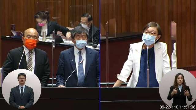 行政院長蘇貞昌(左1)、衛福部長陳時中(左2)立法院備詢。(圖:立法院隨選視訊)