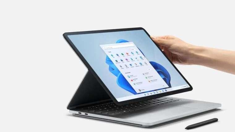 微軟新推出筆電Surface Laptop Studio。(圖片來源:Microsoft)