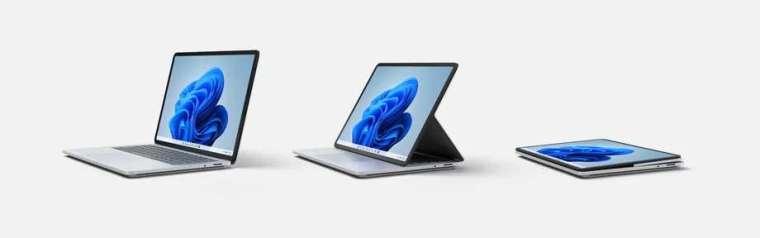 微軟Surface Laptop Studio螢幕可調整成不同角度。(圖片來源:Microsoft)