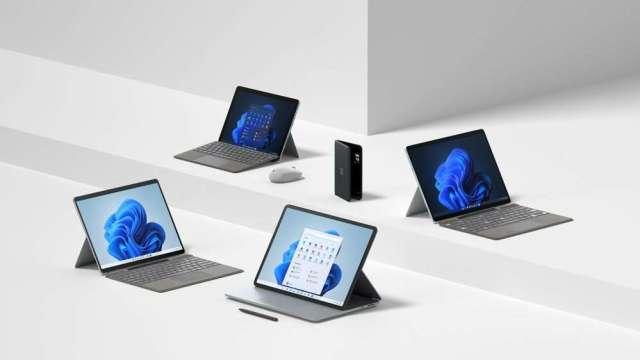 微軟Surface新品全面搭載Windows 11,台供應鏈營運添動能。(圖:微軟提供)
