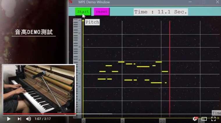 使用多重音高偵測技術,鋼琴每彈下一個音,電腦會自動定位音高,在螢幕上再度轉化成鋼琴鍵,圖中的橫軸則為時間軸,清楚地看出該時間點演奏者按下哪一個鋼琴鍵,演奏完畢便完成曲譜的轉譯。 圖│《日新 ‧ 樂譯》跨界科技音樂會 DEMO 宣傳影片,製作: 魏一傑、吳曉筑