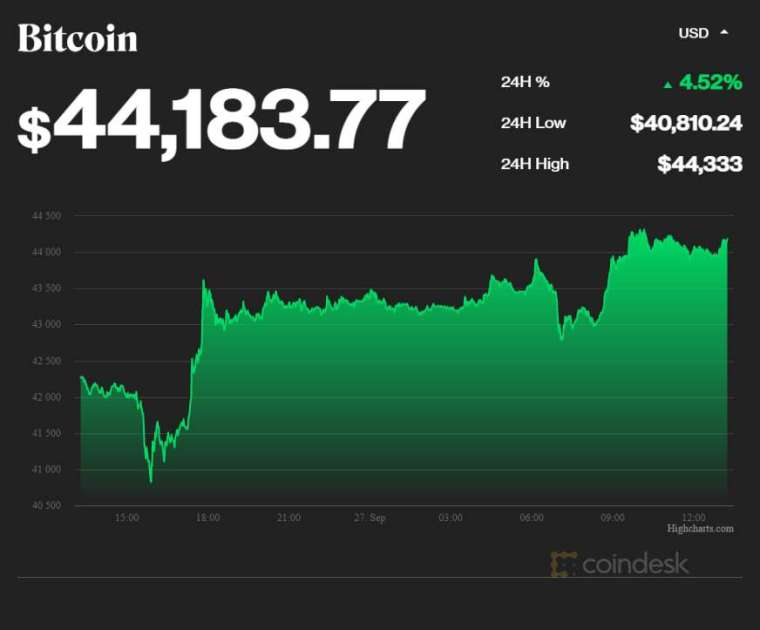 比特幣價格 (圖表取自 coindesk)