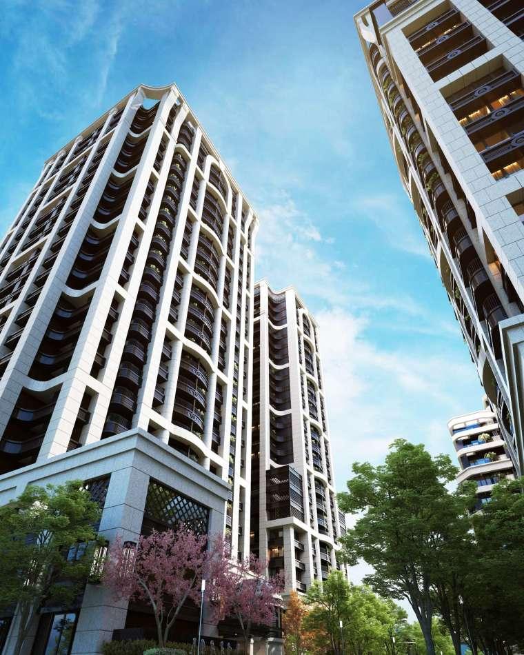台北市中心逾 2 千坪基地規模的豪宅案屈指可數,今年 928 熱銷登場的「宏國大道城」以雙子星首圈 2,100 坪 4 棟 P&T 美學建築,躋身北市豪宅聚落榜。圖/業者提供