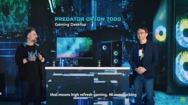 宏碁電競桌機將首搭英特爾第12代處理器,創作者推3D裸視體驗。(圖:取自宏碁全球新品發表會直播)