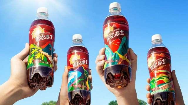 台灣古道現瓶身,黑松沙士x蕭青陽四款「向前瓶」限量上市。(圖:黑松提供)