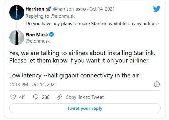 馬斯克推文表示正與航空公司商談星鏈網路服務。(圖片來源:擷取自馬斯克推特)